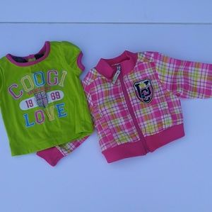 Coogi infant girls 3/6m jacket & shirt set